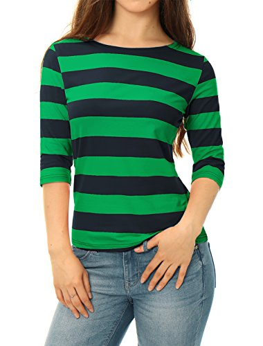 Allegra K Damen Slim Fit Elbow Sleeves U-Boot Ausschnitt Streifen Top Bluse, M (EU 40)/Dunkel Grün