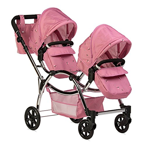 Roma, passeggino Darcie per bambole gemelle,rosa, 3-16anni