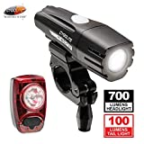 Cygolite Metro 700 Lumen Headlight and Hotshot 100 Lumen Tail Light USB Rechargeable Bike Light Combo Set, Black/Red