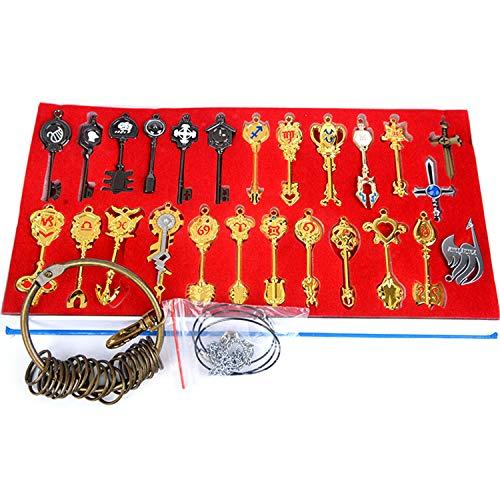 Anime Cosplay Fairy Tail llaves colgantes de 25 piezas,colgantes de Lucy,Naz,Gray, juego de llaves y llaveros del zodiaco dorado unisex para hombres y mujeres