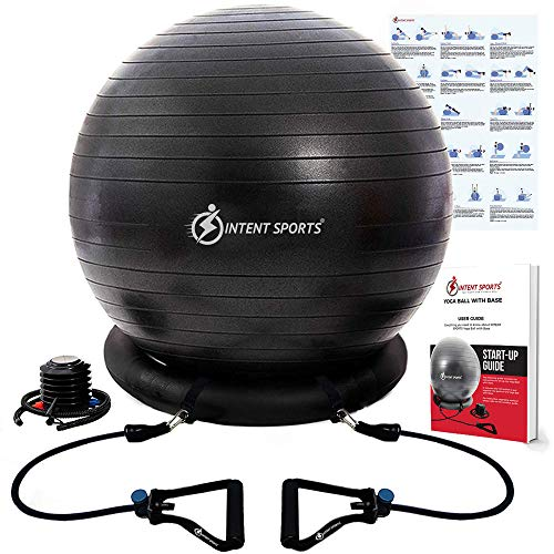 INTENT SPORTS Ball with Base Exercise Balance Ball Black