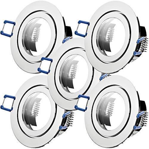 5 x Bad Einbaustrahler 12V inkl. MR16 Fassung Farbe Chrom IP44 Deckenspots Neptun Rund Einbauleuchten