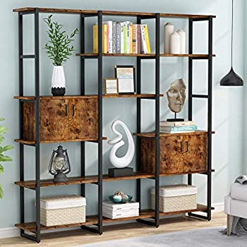 Tribesigns 71   Triple Wide Bookcase 5 Tier Bookshelf with 2 Storage Cabinet Modern Etagere Large Open Book Shelves Industrial Wood and Metal Shelving Unit Furniture for Home Office Rustic Brown