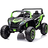 Sopbost 12V 14Ah Ride on Truck for Kids, 4WD Ride On UTV Buggy with Parent Remote Control, Electric Car for Kids, Off-Road Ride on Car w/Spring Suspension, USB, Bluetooth, AUX, TF Slot(Green)