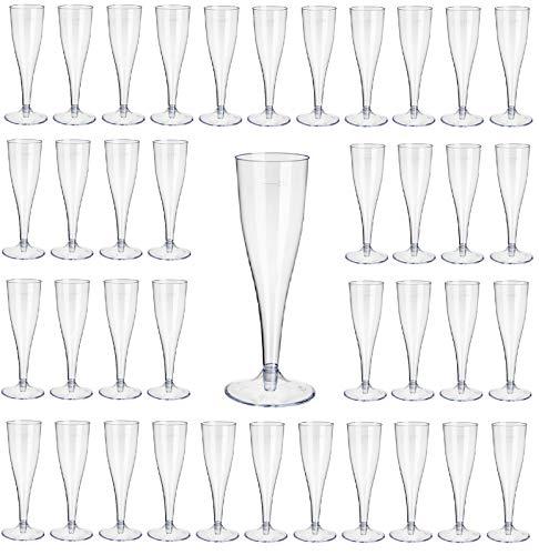 Gastro-Bedarf-Gutheil 40 Kunststoff Sektgläser glasklar mit Eichstrich 0,1l Champagnergläser Sektkelche Sektglas mit Steckfuß 2-teilig