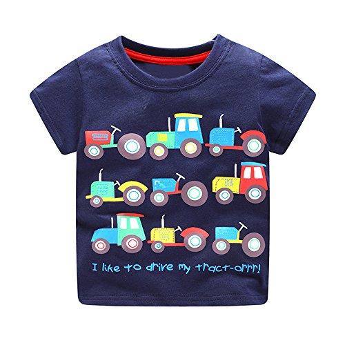KaloryWee Unisex Kinder Jungen Tops Pullover Pullover Bluse Cartoon Trucks Bedruckt Kurzarm T-Shirt Pullover Sweatshirt Kleidung 1 2 3 4 5 6 Jahre Gr. 3 Jahre, Dunkelblaue Trucks