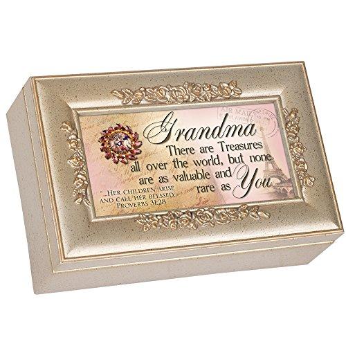 Cottage Garden Grandma Grandmother Champagne Silver Petite Rose Music Box / Jewelry...