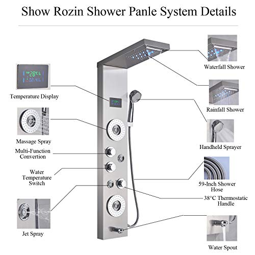 Rozin Wall Mounted Bath Massage Jets Function Tub Shower Faucet Panel Set LED Light Rainfall Waterfall Showerhead with Hand Spray Stainless Steel