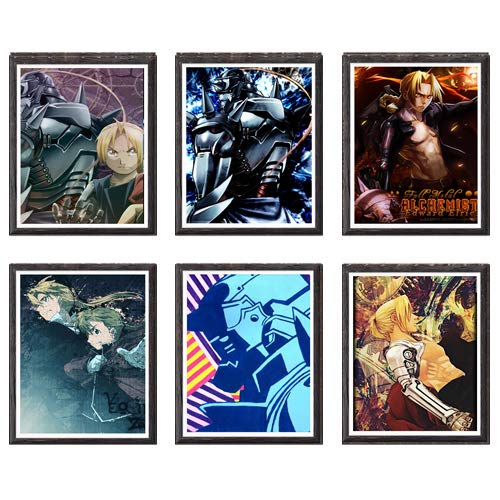 MS Fun Fullmetal Alchemist FMA Edward Alphonse Fabric Canvas Art Print,8 x 10 Inches,No Frame,Set of 6 Pieces