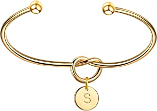 OSIANA Initial Bracelet 14K Gold Plated Tie The Love Knot Infinity Bracelets for Women Bangle Bridesmaid Gift