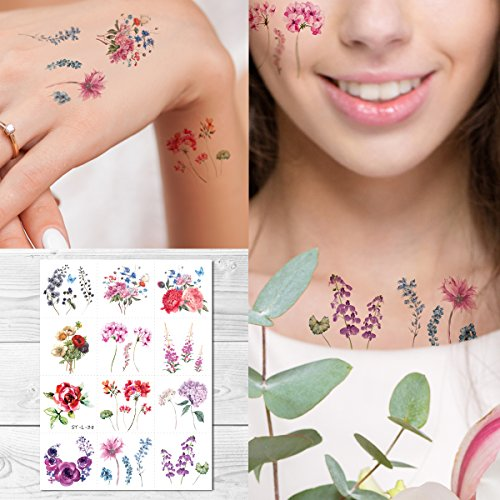 Supperb Temporary Tattoos - 12 Tity Watercolor Vintage floral Rose Flower Tattoo
