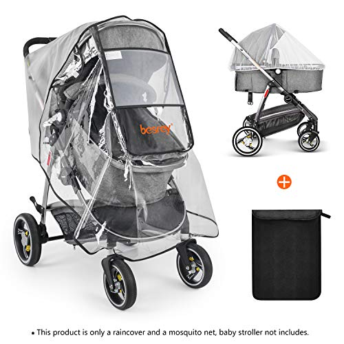 besrey Stroller Rain Cover Stroller Shield Cover Windproof Waterproof for Travel Protect from Dust and Snow