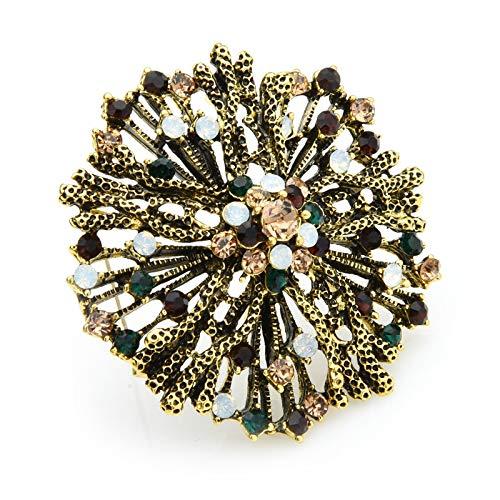 Broche vintage con diamantes de imitación de flores, para mujer, boda, fiesta, casual, predeterminado
