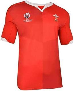 ラグビーウエアメンズ半袖 2019ワールドカップウェールズ ホームアンドアウェイフットボールジャージラグビーTシャツ通気性ゲームジャージレプリカ S-5XL (Color : Red, Size : S)