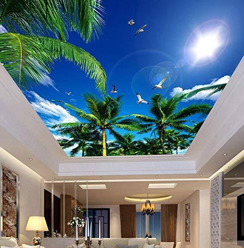 Xcmb Deckenpaneele Der Kundenspezifischen Tapete 3D, Blauer Himmel Wohnzimmerdecken-Apartmenthotel-Hintergrundwand Vinyl-450Cmx300Cm