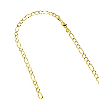 Luxurman 10K Yellow Solid Gold 6mm Diamond Cut Figaro Chain Link Necklace or Bracelet with Lobster Clasp