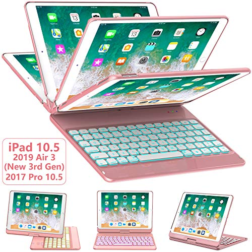 iPad Pro 10.5 Keyboard Case 2017/ iPad Air 3 Case with Keyboard 10.5 2019-360 Rotate 7 Color Backlit Wireless Keyboard with Smart Folio Hard Back Cover, Ultra Slim, Auto Sleep/Wake, Rose Gold