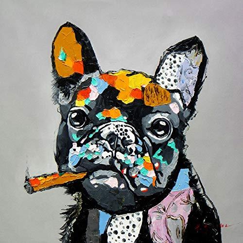 YWOHP Animal Graffiti Art Dog Monkey Pintura sobre Lienzo Pop Street Art Cuadro de la Pared impresión del Cartel para la habitación de los niños decoración de la Pared del hogar-40X40