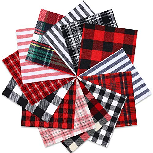 65 Pieces Christmas Buffalo Plaid Cotton Fabric 5 x 5 Inch Precut Tartan Lodge Homespun Fabric Squares Patchwork Sewing Quilting Gingham Check Fabric for DIY Sewing Crafts Handicrafts, 13 Styles