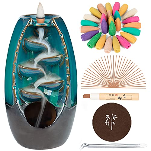 DAILYLIFE Incense Waterfall Burner Backflow Ceramic Incense Holder, Home Decor Aromatherapy Ornament with 35 Upgraded Backflow Incense Cones + 25 Incense Sticks + 1 Cushion + 1 Tweezer (Blue)