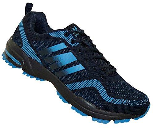 Bootsland Übergröße Luftpolster Turnschuhe Sneaker Laufschuhe 024, Schuhgröße:48, Farbe:Dunkelblau/Hellblau