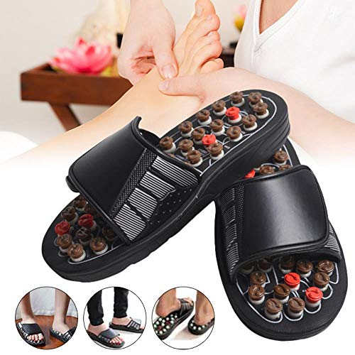 SELLM Arrival Acu-Point Slippers Accupressure Massage Foot Massager Flip Flop Sandals for Women Men,Brown,45