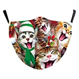 eBoutik Atmungsaktive Stoff-Gesichtsmasken mit Filterschlitz, lustige Weihnachts-Designs – wiederverwendbar, waschbar, atmungsaktiv (Katzen-Carol)