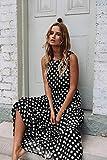 NOBRAND Vestido Largo Sin Mangas con Lunares Marrones Vestidos De Verano para Mujer Vestido Vintage Una Línea Elegante Vestido Largo Informal Suelto M Negro