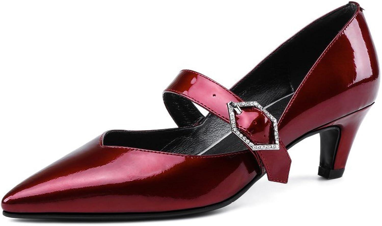 Nine Seven Patent Leather Women's Pointed Toe Kitten Heel Handmade Slip On Pumps