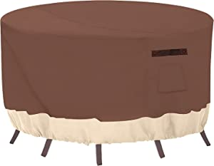 Outdoor Round Patio Furniture Cover with 600D Heavy Duty Waterproof Veranda Table Chair Set Cover for Bistro Outside Garden Lawn Yard Snow 62 Dia x 28 High Inches Brown Beige