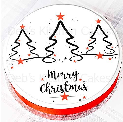 Christmas Cake Topper - Christmas Tree Cake Decoration - Edible Icing Round 7.5' 19cm - Christmas Tree Cake Decoration