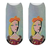 LWHRKSJC Cheville Chaussettes 3D Picasso peinture à l'huile chaussettes Hipster Van Gogh Art chaussettes femmes drôle abstrait autoportrait chaussettes roman chaussettes