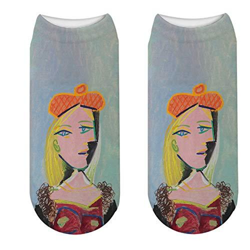 LWHRKSJC Calcetines cortos 3D Calcetines de pintura al óleo de Picasso, calcetines de arte Hipster Van Gogh, calcetines de autorretrato abstracto divertido para mujer