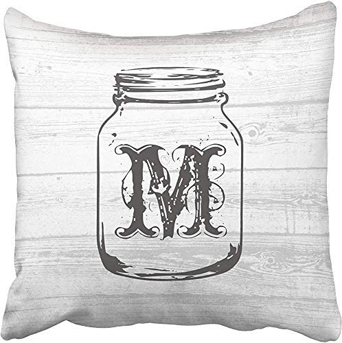 Bru565und Funda de almohada rústica gris de grano de madera Mason Jars Throw Pillow Cover Home decorativo Funda de cojín Funda de almohada Sofá cama coche Living Home con cremallera oculta en suave Catoon 18 x 18 pulgadas