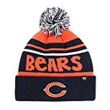 '47 Youth Size Chicago Bears Blue Cuff Playground Beanie Hat with Pom - NFL Kid's Cuffed Winter Knit Toque Cap