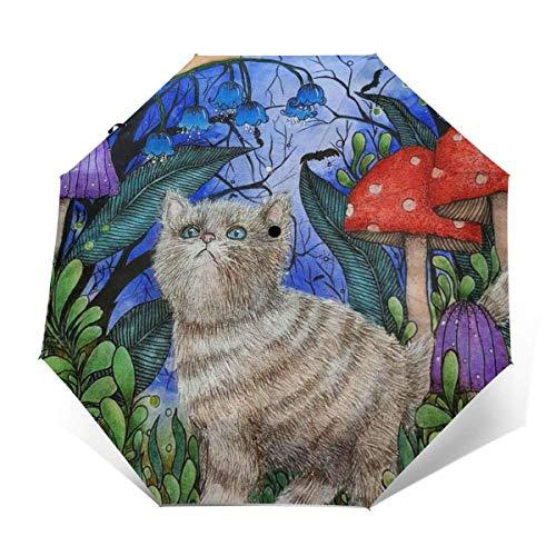 A Prueba de Viento Travel Auto 3 Folds Umbrella Cartoon Cat Mushroom Snail Folding Lightweight Portable Parasol Umbrella for Women Men