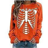 Rouped Halloween Camisetas Moda Y2K Manga Larga Mujer Algodon,Camisa con Estampado de Esqueleto,RC1097