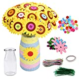 Zorara Flower Craft Kit for Kids,Vase and Flower Craft Kit for Kids,Make Your Own Flower Bouquet with Buttons and Felt Flowers,Fun DIY Activity for Children Ages 4 5 6 7 8 9 10 Years Old