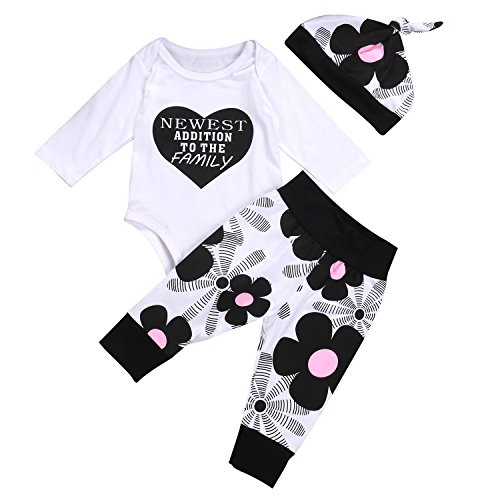MA&BABY Newborn Kids Baby Boy Girl Cotton Tops Romper Pants Hat 3Pcs Outfits Set Clothes (0-3 Months, White)