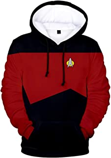 Silver Basic Hoodie Sweatshirt for Men The Next Generation Costume Picard Spock Cosplay Sweatshirt Jumper