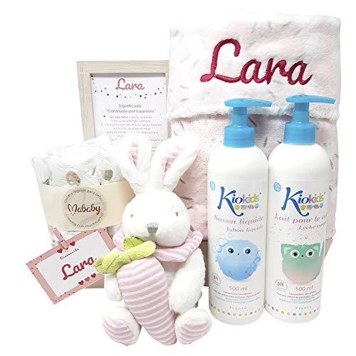 MabyBox Soft And Happy | Canastilla bebe | Cesta Recien Nacido | Regalo Bebe Personalizado (Rosa)