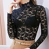 PKYGXZ Half High Neck Lace T-Shirt Bottoming Shirt Damenbekleidung Langarmbluse Durchsichtige sexy schlanke Pullover T-Shirt Tops