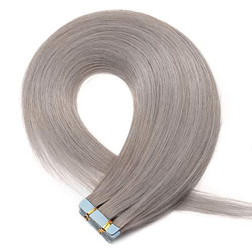 Extension Adhesive Cheveux Naturel 20 Pcs - Rajout Cheveux Humain à Bande Adhésive Invisible Extensions Tape in (#GRIS, 35 cm (40 g))