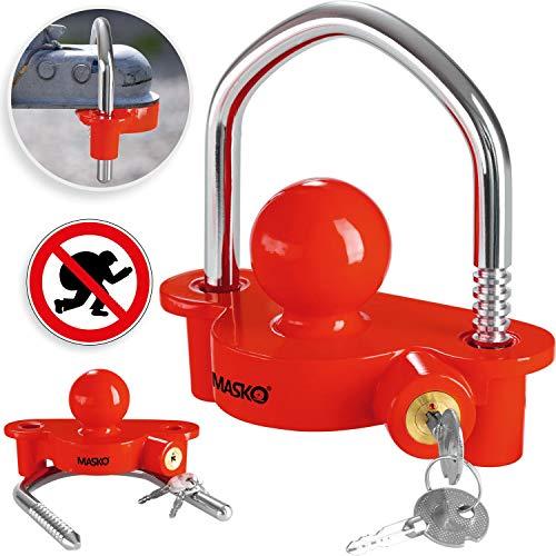 MASKO® Anhängerschloss für gängige Anhängerkupplung einfache Montage Diebstahlschutz Diebstahl Anhänger Sicherung 2 Schlüssel extra sicher Kreuzschloss Rot
