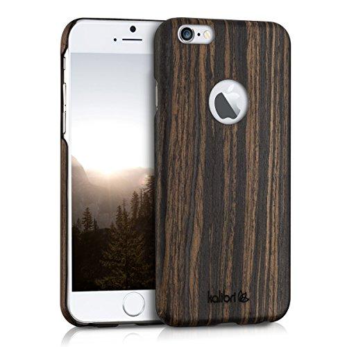 Kalibri Custodia in Legno per Apple iPhone 6 / 6S Custodia Protettiva per Cellulare in Legno e Plastica Legno di Tiglio Marrone Scuro