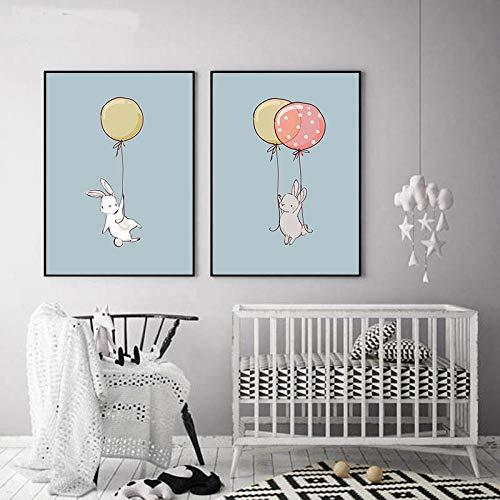 HNZKly Cartoon Abstract Lovely Animal Home Deko Skandinavische Leinwand GemäLde Kit Schlafzimmer Wohnzimmer SüßE Familie Wand Bilder Kunstdrucke Nettes Poster 50x70cmx2 / Ungerahmt