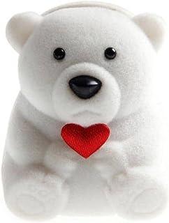 Söt björnringlåda, sammet örhänge låda smycken låda display förvaringslåda förslag, förlovning, bröllop