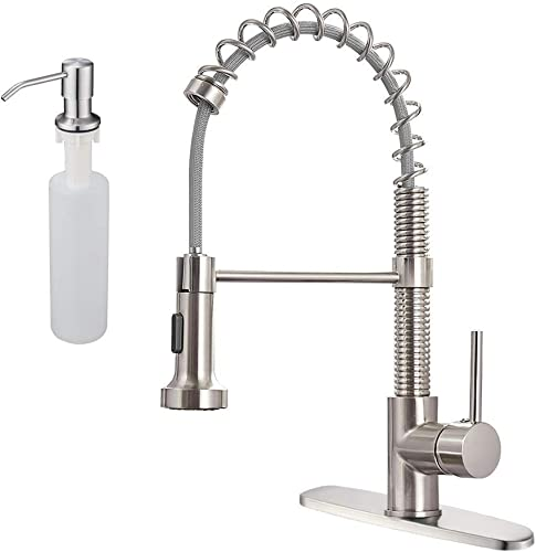 high quality OWOFAN Brushed Nickel Kitchen Sink Faucets Pull Down Sprayer with Hole Cover Plate online with Built in Sink Soap Dispenser Product new arrival Bundles online