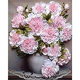 Square Diamond DIY 5D Diamant Gemälde Kit, Malen nach Zahlen Erwachsene Pink Vase Blume Diamant Painting Stickerei Strass Kreuzstich Kunst Craft Supply für Home Wand Decor 30x40cm