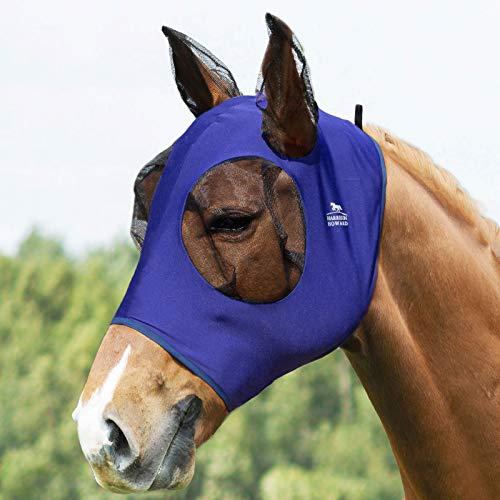 Harrison Howard - Maschera elastica per mosche a cavallo, in morbida rete, colore: Blu navy
